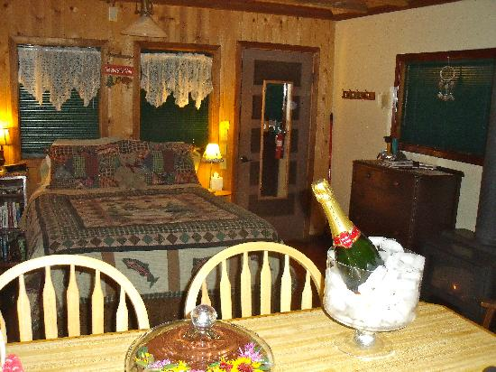 Sunset Inn Yosemite Vacation Cabins: Inside Sugar Pine (along with chocolate cake!)