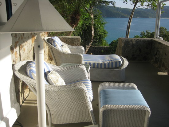 Guana Island: the porch of our cottage