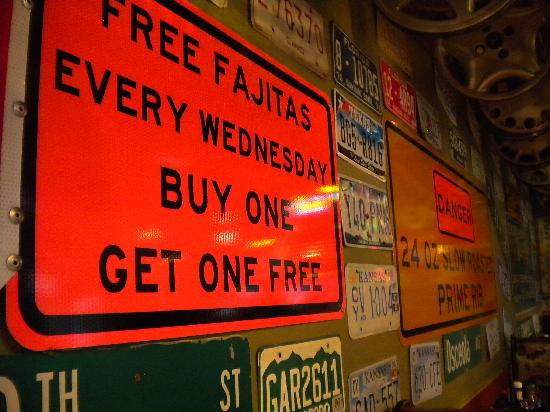 Manny's Original Chophouse: fun decoration: license plates and road signs