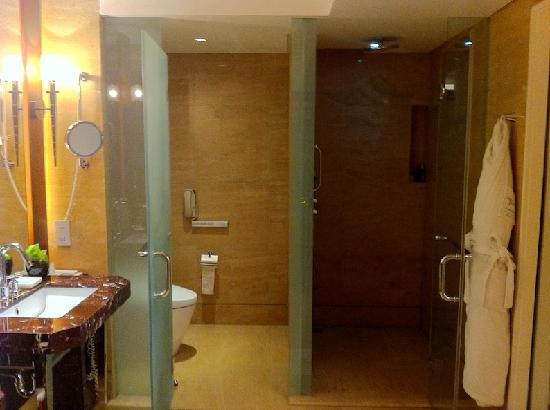 Hotel Indonesia Kempinski: Showers on right is darker than WC on left