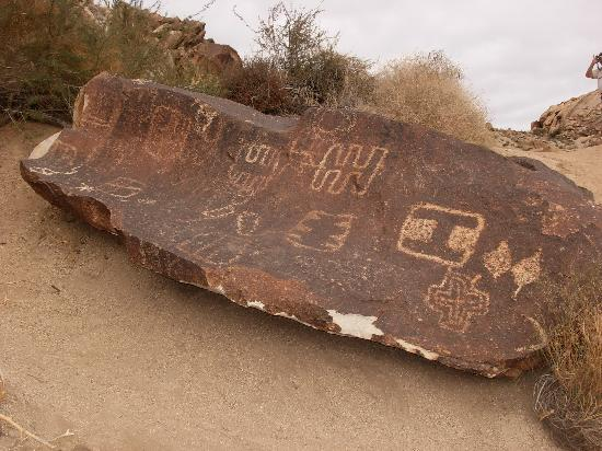 Petroglyphs on a rock at Grapevine Canyon just a few miles from Laughlin, NV.