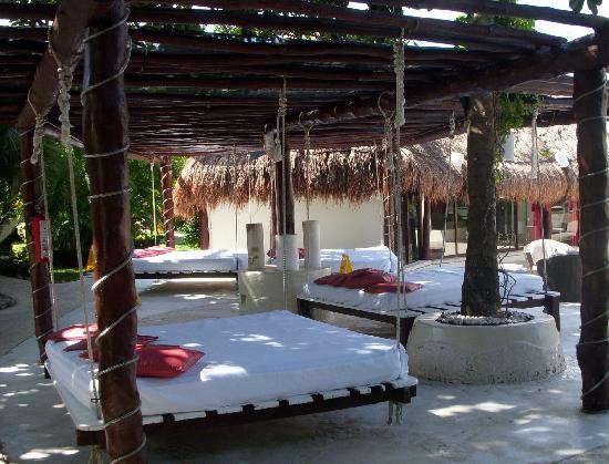 desire riviera maya resort hanging beds near main bar