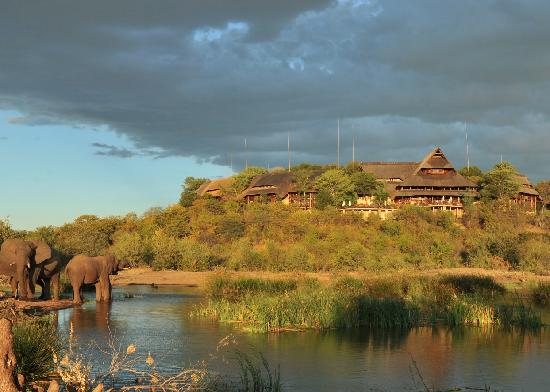 Victoria Falls Safari Lodge: View of the lodge from the waterhole