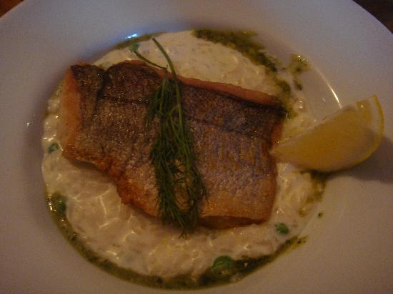 Olde Bakery Restaurant & Bar : Main course (fish and pea risotto)
