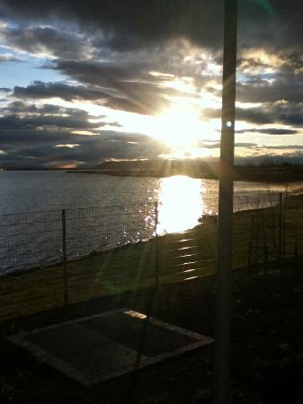 Laugarvatn Fontana Geothermal Baths: A view from reception, sunrise over the lake
