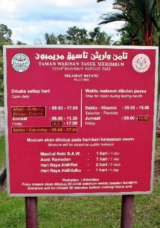 Tasek Merimbun Heritage Park: Working Hour