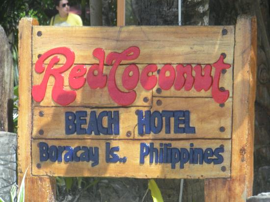 Red Coconut Beach Hotel: The sign