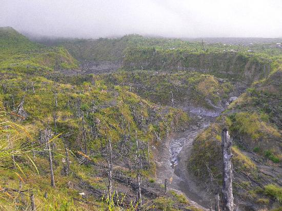 Merapi Volcano: Path of destruction and the remaining lava bed