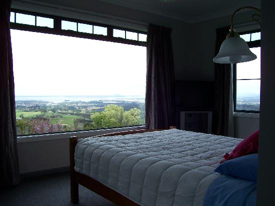 Eagles View B&B: queen bed with view