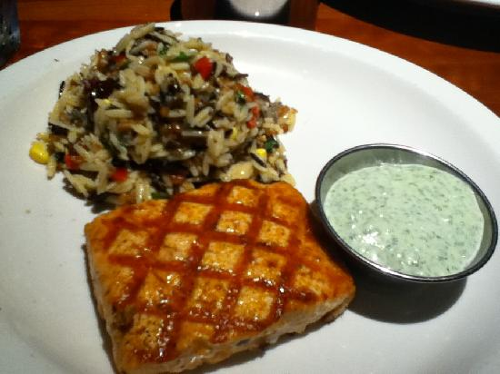 Smoked norwegian salmon served with orzo and wild rice and for Alexander s greek cuisine