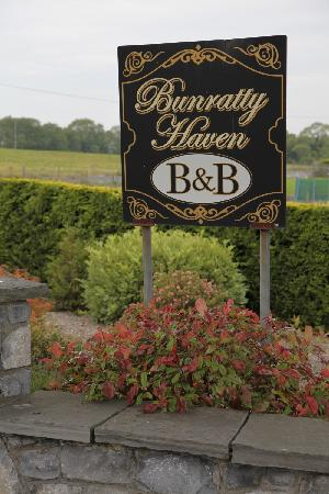 Bunratty Haven Bed and Breakfast: Front sign and hedges.
