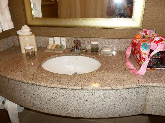 Hilton Garden Inn Worcester: Vanity sink in bathroom