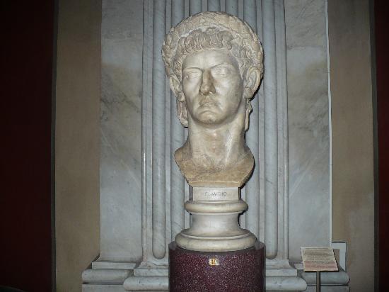 Vatican City, Italy: Bust of Roman emperor Claudius, circa 50 AD in the Sala Rotonda, Pio-Clementine Museum