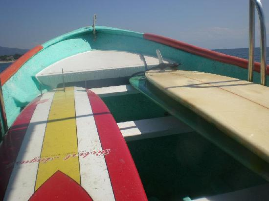 Accion Tropical: our rental boards on the panga