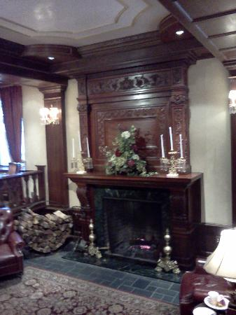 The Madison Hotel: A gorgeous antique carved fireplace is the centerpiece of the lobby and lounge area of the hotel