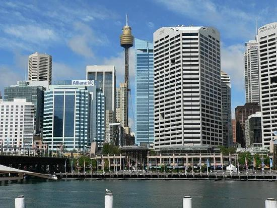 Jolly Swagman Backpackers: Sydney Tower from Circular Quay Along Pitt Street