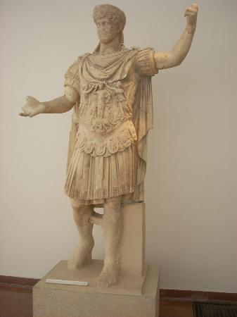Archaeological Museum at Ancient Olympia: A statue of the Emperor Hadrian in the Roman gallery.