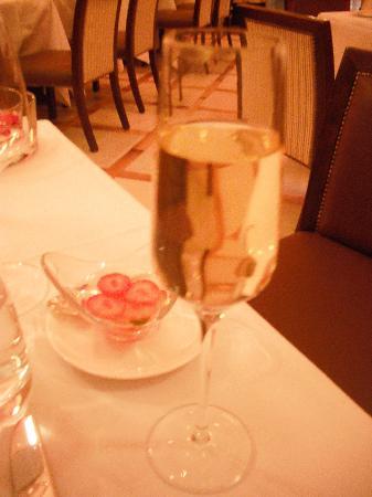 Croatian champagne with strawberry gazpacho