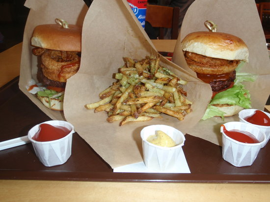 Village Burger: Burgers with onion rings and parmesan fries