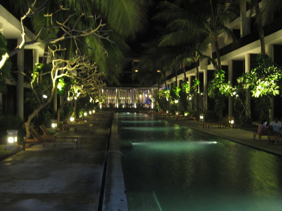 The Oasis Beach: The pool, at night