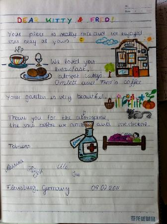 Child's review in Lieve Nachten b&b