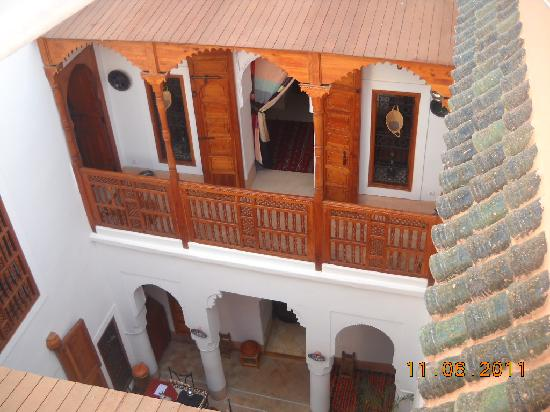 Riad Slawi: Looking down from the terrace into the atrium