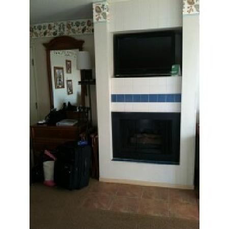 456 Embarcadero Inn & Suites: Fireplace and tv (gas fireplace)