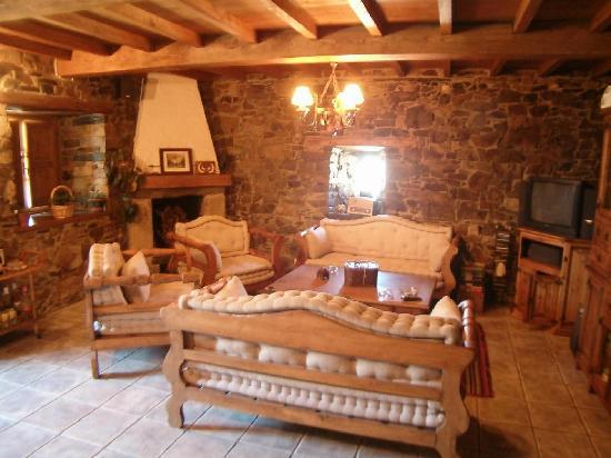 Sal n biblioteca con chimenea y mini bar picture of for Casa rural con chimenea asturias