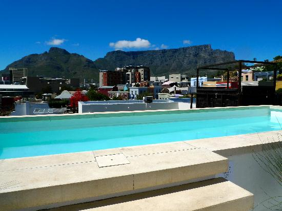 The Village Lodge: small roof-top pool with Table Mountain view