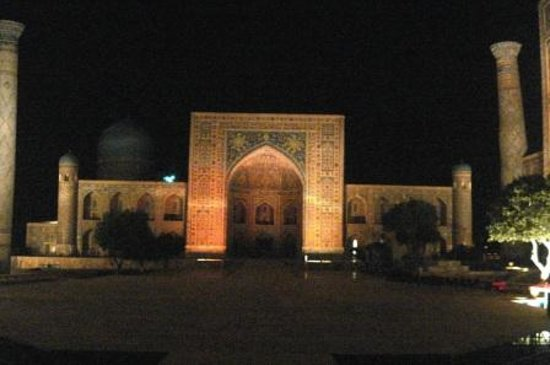 Samarkand, Uzbekistan: at night, during sound and light show.