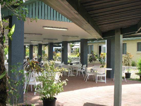 Lihir Island, Papua New Guinea: View from the bar looking towards the dining area.