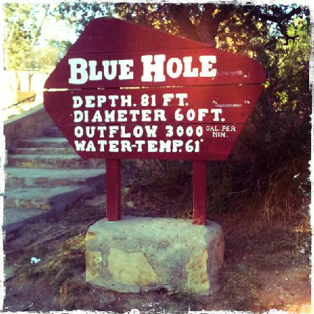 Santa Rosa, NM: Blue hole sign