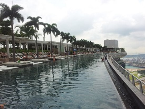 Marina Bay Sands : infinity pool at roof top 57th fl (side view)