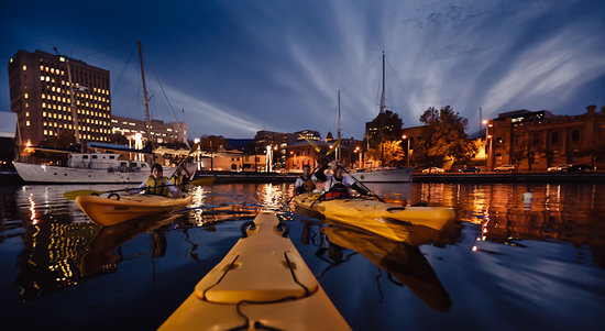 Hobart Urban Adventures Kayak Tour: Hobart docks at Twilight