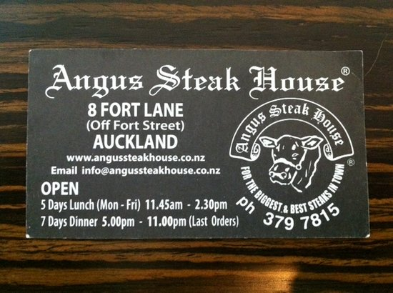Angus Steak House: Card Front