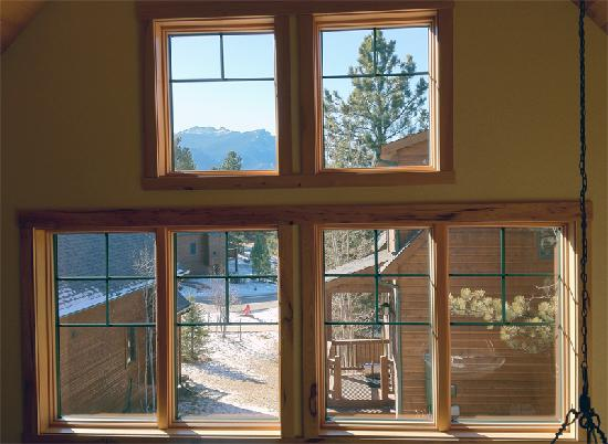 Solitude Cabins: View of outside from the upstairs balcony