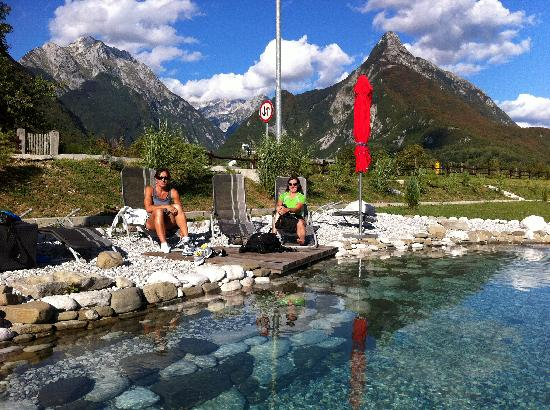 Bovec, Slovenia: The pool/pond area behind the hotel - wow!
