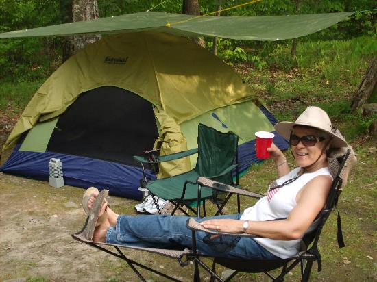 Mongaup Pond Campground: Relaxing by the campsite