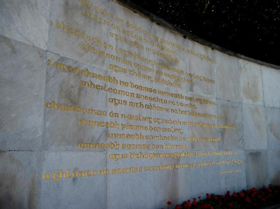 Rebel Tour of Dublin: The City That Fought an Empire: Inscription in the Garden of Remembrance. Go in person to see the translation!