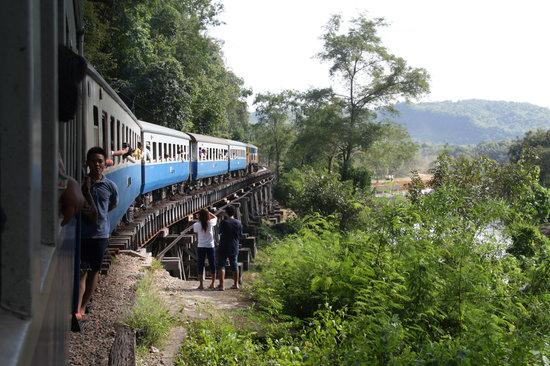 Thai-Burma Railway (Death Railway): famous wooden bridge