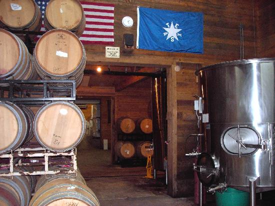 Sister Creek Vineyards: Stainless steel tanks & oak aging barrels