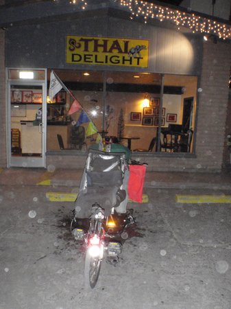 Thai Delight: My Doublevision--mode of transport for the next three days--can require an entire parking spot!