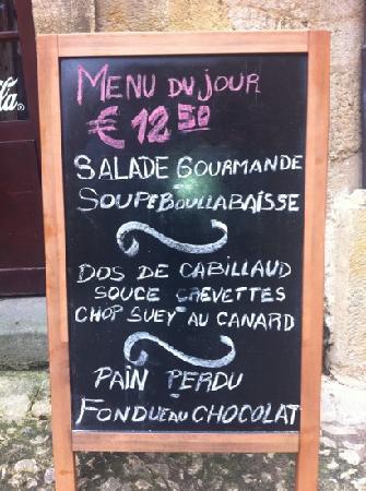 L'Assiette de Foie Gras : menu du jour!! attentions ça change tout les jour!