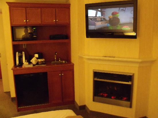 Hilton Garden Inn Saskatoon Downtown: Fireplace. TV, and Kitchenette