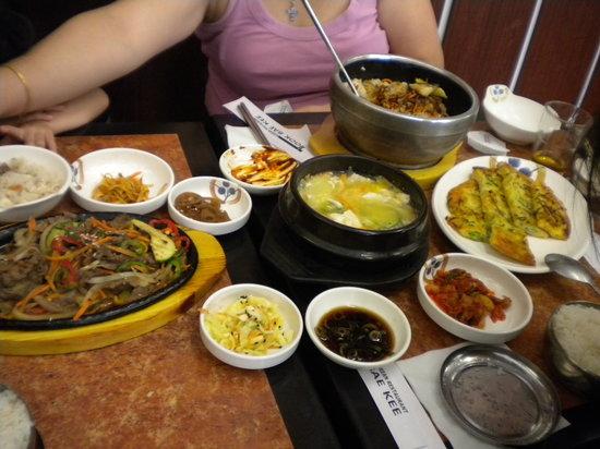 Took Bae Kee: meat BBQ,tofu soup,Bibimbab & pancake.