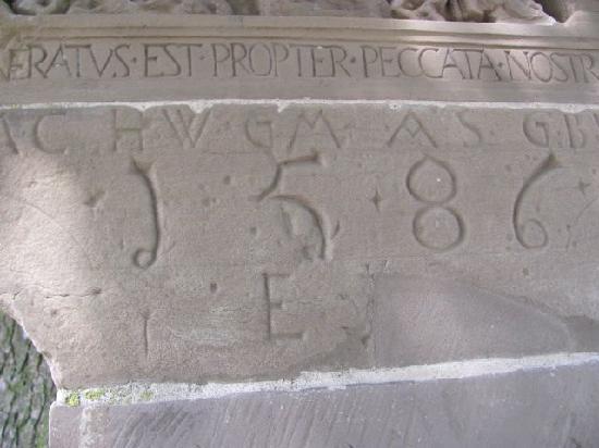 Renaissancebildstock: inscription: 1568