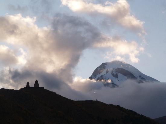 Mount Kazbek/ Mqinvartsveri: Tsminda Sameba and Mount Kazbegi