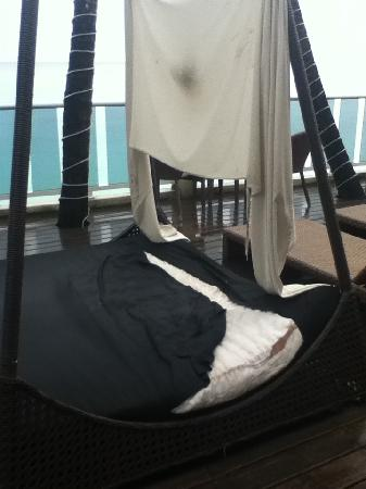 Waves: moldy, ripped beds on the decking