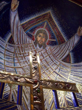 Church of the Transfiguration: The massive mosaic of the risen Christ