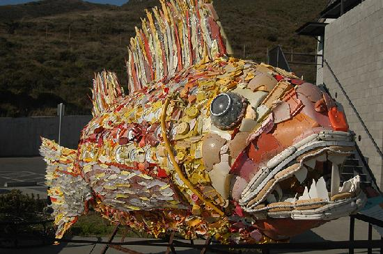 Sausalito, CA: A fish sculpture create from plastic pollution pulled from the Pacific Ocean